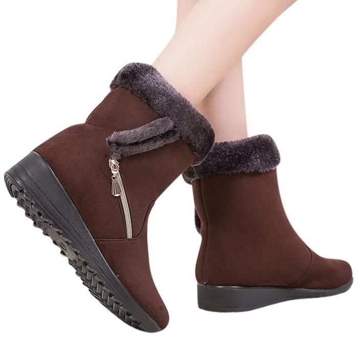 Bottes de neige pour femmes Cheville Hiver Botte courte Zipper Chaussures Chaussures chaudes SCH90804831BW35_fan