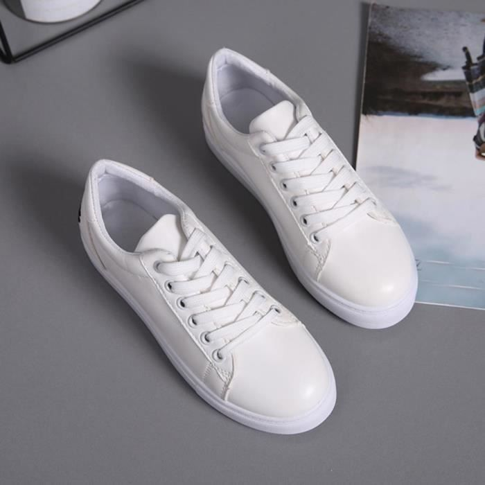 Mode féminine Embroier Cartoon Cat ronde Toe Flat White sneakers Casual-2572