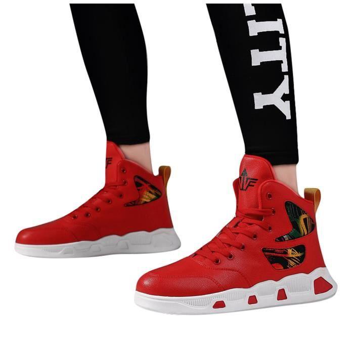 Chaussures de basket-respirante Student Absorption des chocs Chaussures de sport simple d'homme rouge