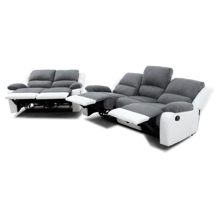 RELAX Ensemble canapés droits de relaxation 3 + 2 places - Microfibre...