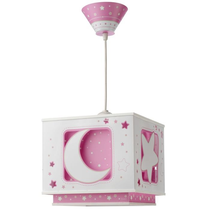 LUSTRE ET SUSPENSION Lustre - suspension carrée enfant Etoiles roses en