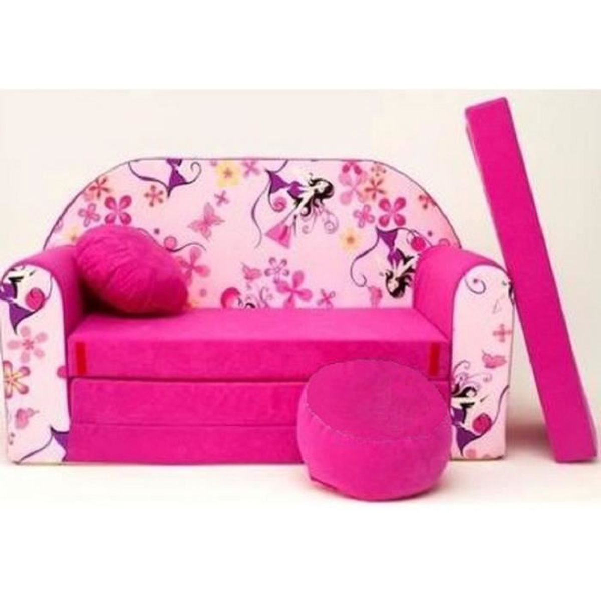 canape sofa enfant 2 places convertible rose avec coussin. Black Bedroom Furniture Sets. Home Design Ideas