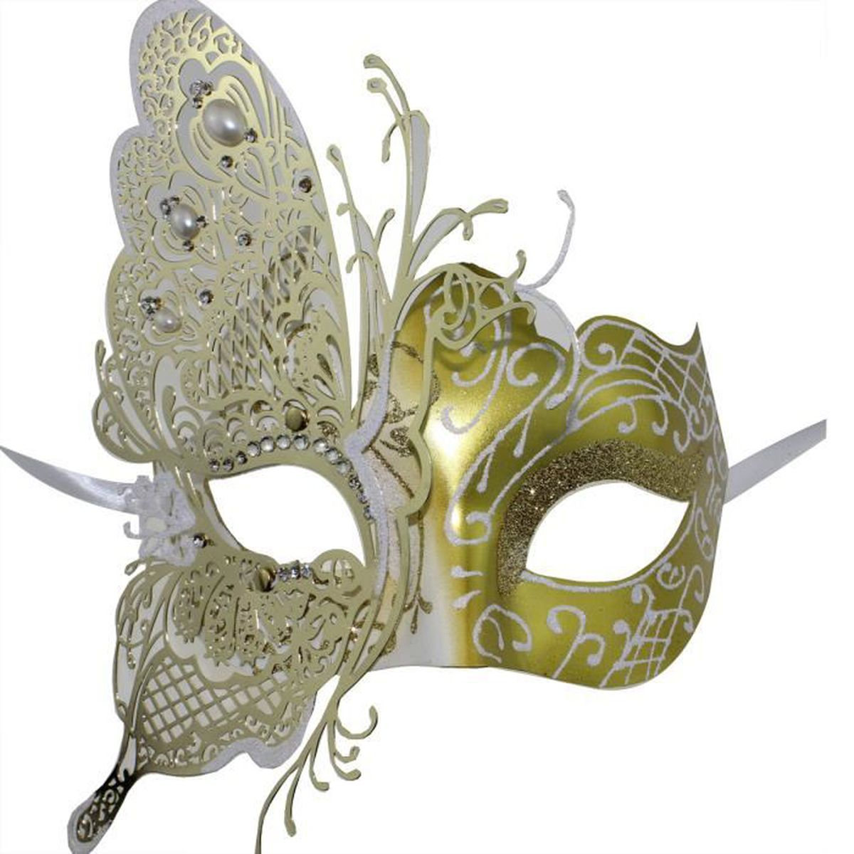 masquerade bal f te femme masque papillon masque v nitien pour les femmes blanc or achat. Black Bedroom Furniture Sets. Home Design Ideas