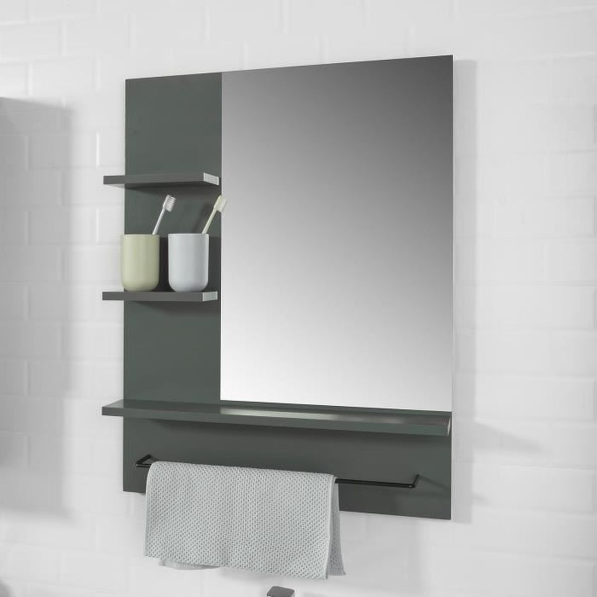 Meuble Haut Salle De Bain Avec Miroir sobuy® bzr23-dg miroir avec porte-serviettes miroir mural