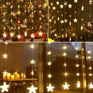Multicolore DEL 12 étoiles scintillantes Rideau Fenêtre chaîne fée lumières 8 Modes UK