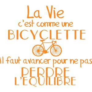 Stickers Citation Bicycletteorange 60 X 53 Cm Achat Vente