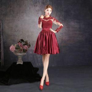 ROBE DE MARIÉE Robe de soirée bordeaux rouge courte femme long ma