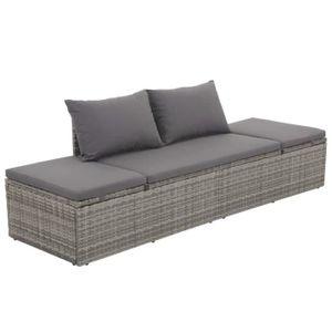Ensemble table et chaise de jardin Canapé d'extérieur Résine tressée 195 x 60 x 60 cm