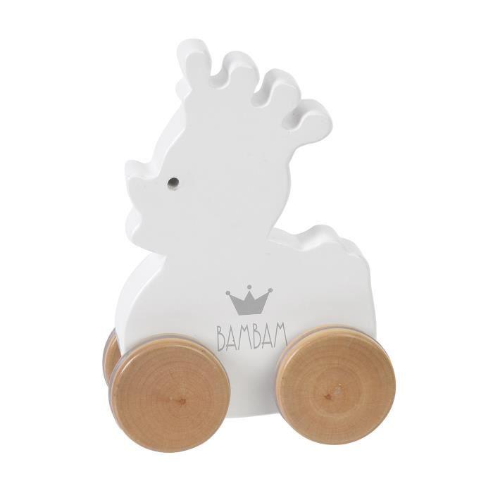 BAM BAM - Canard en bois à roulettes