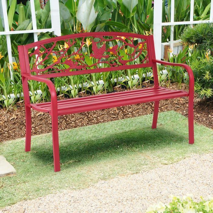 COSTWAY Banc de Jardin 2-3 Places Fer + Acier Résistant aux Intempéries Style Contemporain Banquette Extérieur 123x60x88cm Rouge