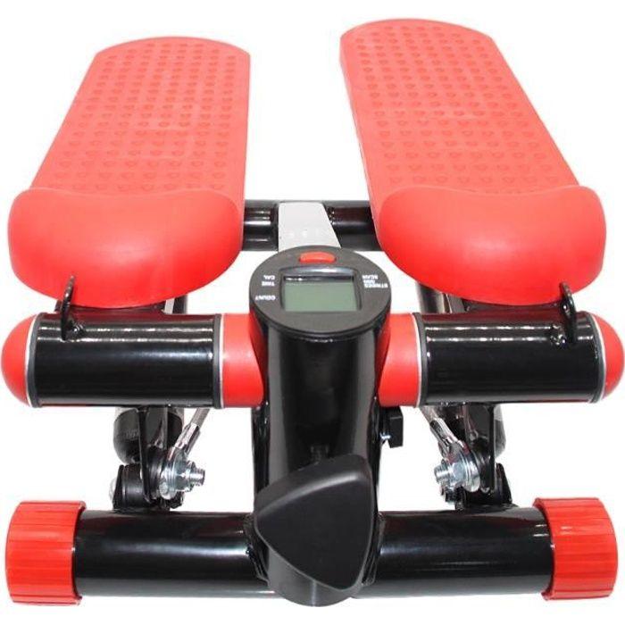 Mini Stepper Marcheur -Machine Jambe Fitness Entraînement Musculaire Exercise avec Bandes de Résistance - Affichage - Rouge noir