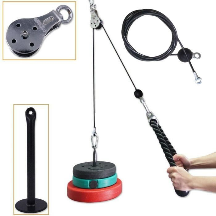 Fitness Poulie Système de câble DIY Chargement Broche de Levage Triceps Machine Corde entraînement Longueur réglable Home Gym
