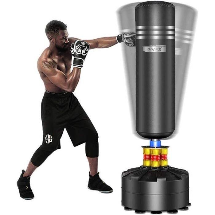 WIND Sac de Frappe sur Pied Boxe Adulte Debout Libre Robuste Sac de Punching Kick Appareil d'entraînement - 1.75M - noir