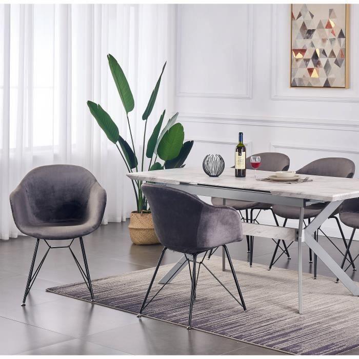 VALENTINA - Lot de 4 Chaises Scandinaves en Velours Gris Foncé - Style Vintage - Salle à Manger, Cuisine, Bureau
