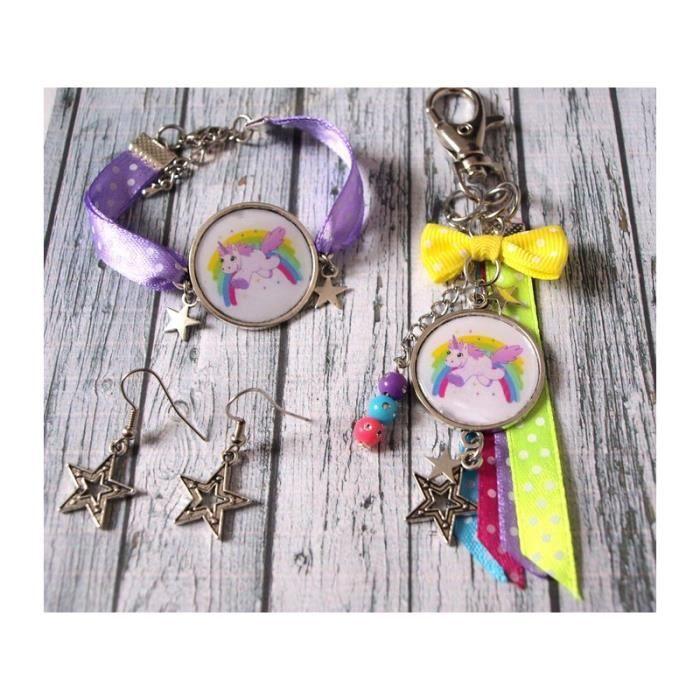 Parure bijoux - licorne arc en ciel - bijou de sac, bracelet cabochon, boucles d'oreilles étoiles. Idée cadeau