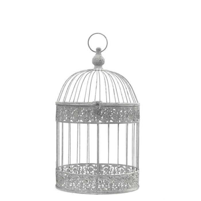Cage Oiseaux Déco en Fer Ronde Gris 47 cm x ø24 cm - 11240-Cage
