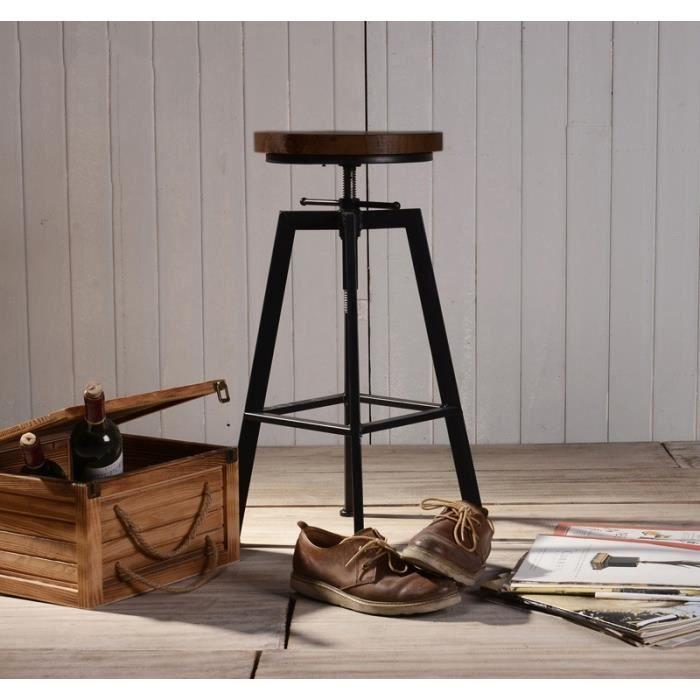 2 Tabourets de Bar Réglable sur Vis Design Vintage Industriel - Métal et Bois