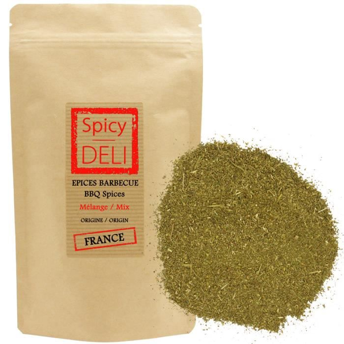 Mélange d'épices spécial BARBECUE en sachet kraft alimentaire refermable. Poids net : 100gr.