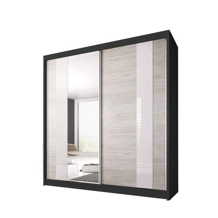 Armoire de Chambre avec 2 Portes coulissantes et mirior - Penderie (Tringle) avec étagères (LxHxP): 233x218x61 Ben 32 (Noir)