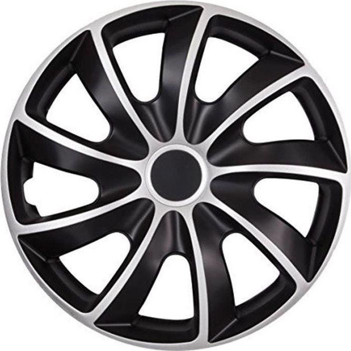 Enjoliveurs de roues QUAD BICOLOR CS 13- argent- noir lot de 4 pièces