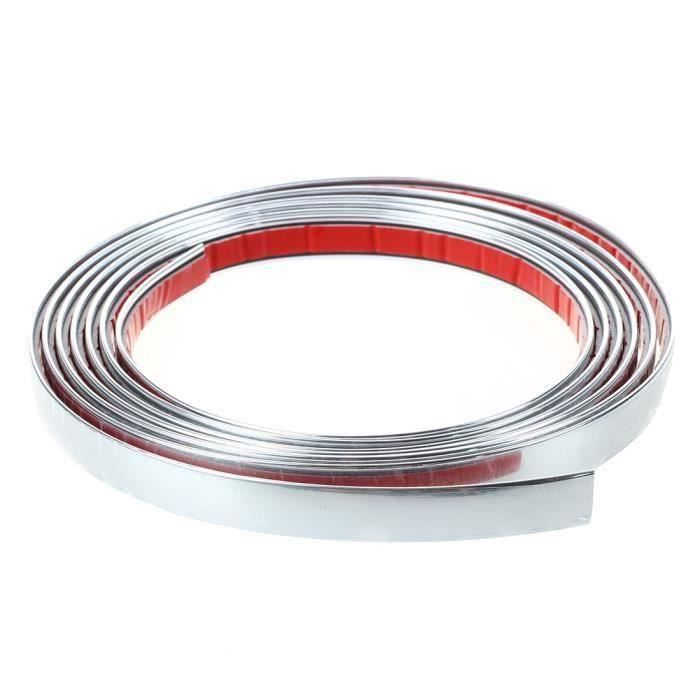 BANDE ADHESIVE CHROMEE COULEUR ARGENT 12MM 3 METRES AUTO