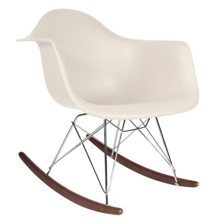 1 x Fauteul Design Inspiration Eames RAR à Bascule Rocking Chair hauteur 48 cm Pieds Bois vernis noyer Assise Blanc Mobistyl®