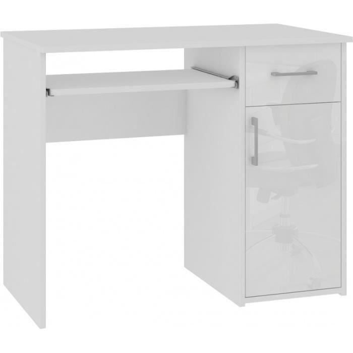 TORPE - Bureau informatique contemporain 90x74x50 cm - Taille compacte + support clavier + tiroir - Table ordinateur - Blanc Laqué