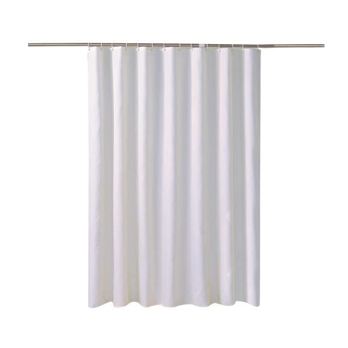 Rideau de Douche Blanc Antibactérien et Résistant à la Moisissure Imperméable Rideaux de Baignoire 240*200 cm