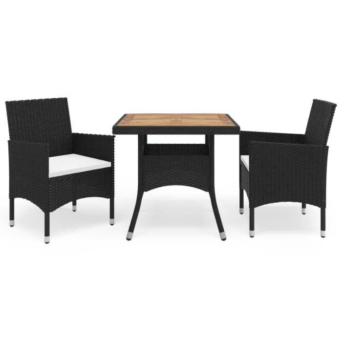 1631Desgin Ensemble à dîner de jardin 3 pcs Set bistrot Ergonomique Salon de Jardin • 1 Table + 2 Chaises Noir Résine tressée et aca