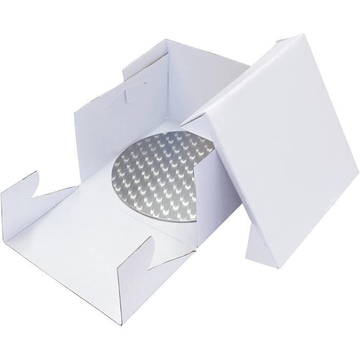 PME BCR869 Fond Rond et Boîte à Gâteau, Plastique, Blanc, 30 x 30 x 15,2 cm