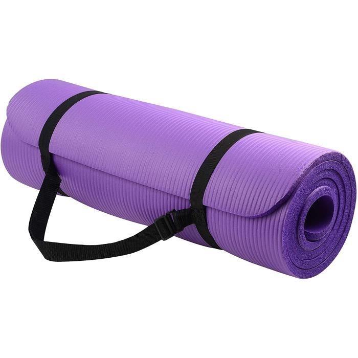 Outado® Tapis de Yoga Natte de Gym Insipide extra épais 183 X 61 X 1 cm Tapis de sport Tapis de fitness + Sangle de transport violet