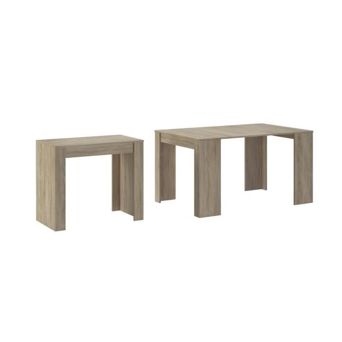 Skraut Home - Table Console extensible avec rallonges, jusqu'à 140 cm, pour salle à manger/séjour, couleur chêne clair brossé.