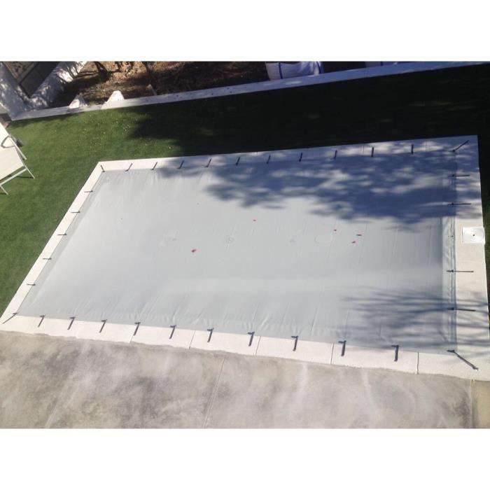 Bâche de piscine d'hiver de 6,80x3,80 mètres. Couleur Gris - Gris.