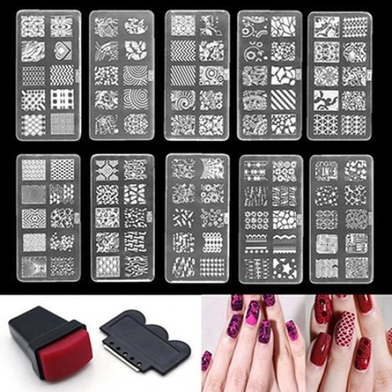 Nail Art Stamp Gabarit Gabarit Set de plaques Kit de conception outil Stamper