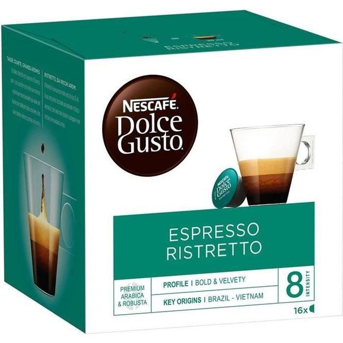 LOT DE 2 - Dolce Gusto - 16 Capsules de café expresso Ristretto 104 g