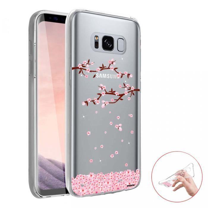 Coque Samsung Galaxy S8 360 intégrale transparente Chute De Fleurs Ecriture Tendance Design Evetane