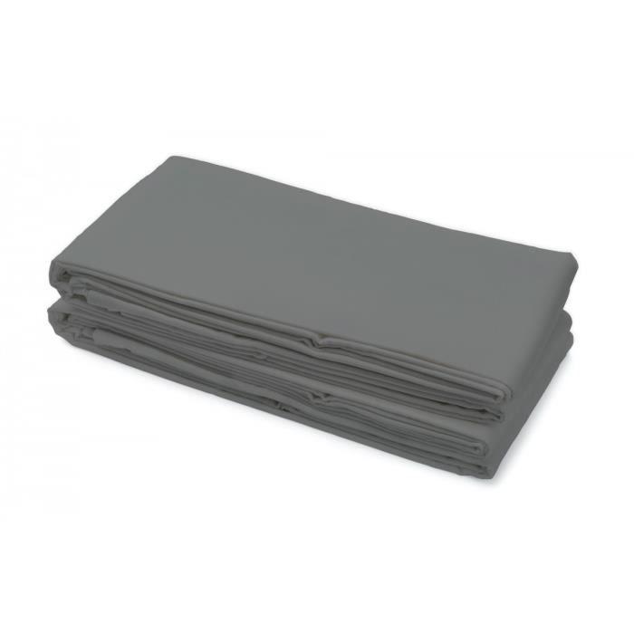 Drap plat 100% Coton 180x290 cm gris foncé