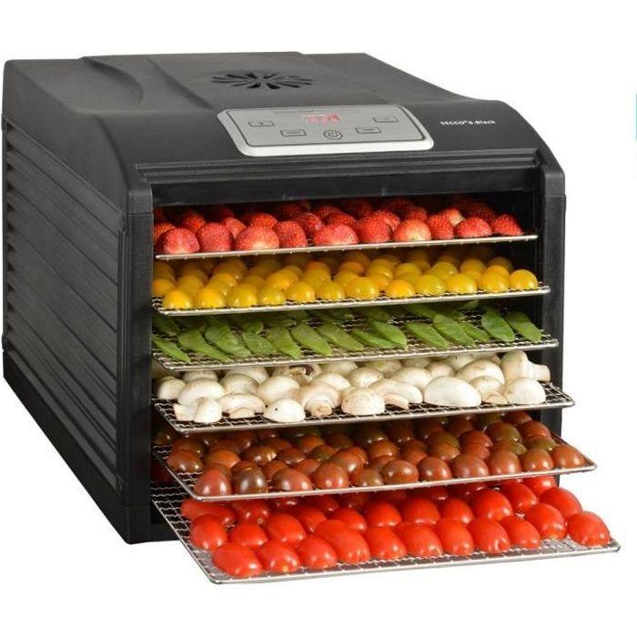Kitchen chef - déshydrateur fruits et légumes 6 plateaux 500w - secco 6 black