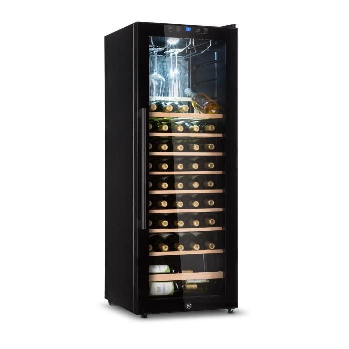 Klarstein Barossa 54S Cave à vin de service - 148 litres / 54 bouteilles - porte vitrée & éclairage LED - noir