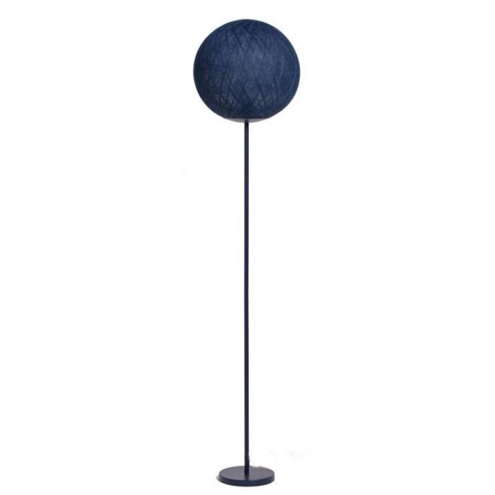 ART DECO-Lampadaire avec Globe Ø36cm Métal/Textile H161cm encre La Case de Cousin Paul H 161cm / base Ø 20cm / diffuseur Ø 36cm Bleu