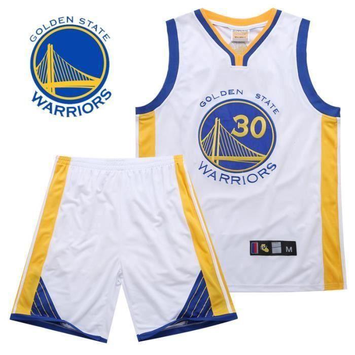 NBA Golden State Warriors Star Stephen Curry Maillot et shorts de Basketball Homme Blanc