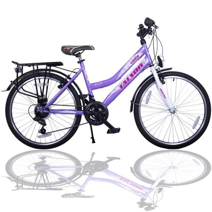 TALSON Vélo pour enfant 24'' avec éclairage 249512 24 pouces vélo de fille Shimano 21-vitesses VIOLET