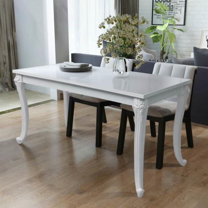 Table de salle à manger salle à dîner Tables d'extérieur cuisine style contemporain 116 x 66 x 76 cm Blanc haute brillance