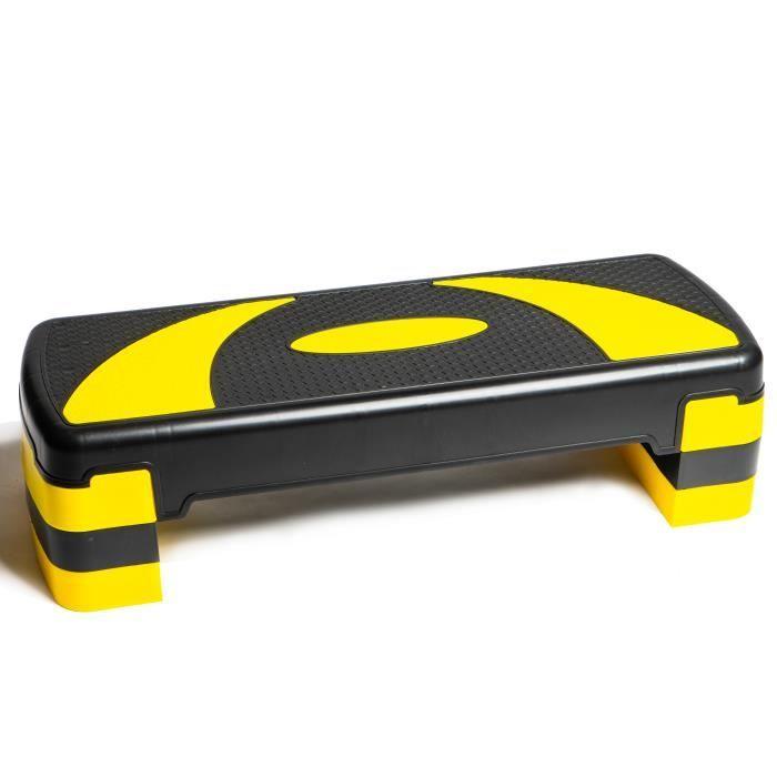 PRISP Stepper Fitness à Hauteur Réglable (3 Niveaux, 10/15/20 cm) Planche de Step Aérobic pour Cardio 78 x 28 cm - Jaune et Noir