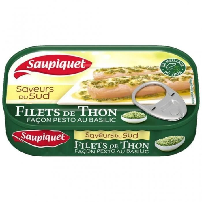 Saupiquet Filets de Thon Saveurs du Sud au Pesto au Basilic 115g (lot de 5)