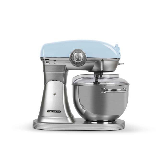 SCHNEIDER SCFP57BL - Robot pâtissier Vintage - bol inox 5,7 litres - 10 vitesses - puissance 1500 watts - coloris bleu