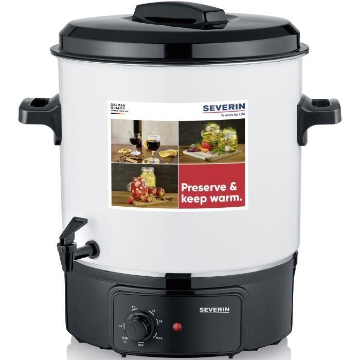 SEVERIN EA3654 Sterilisateur - capacite de 27 litres - Fonctions sterilisation et maintien au chaud pour 14 pots de 1 litre / Blanc