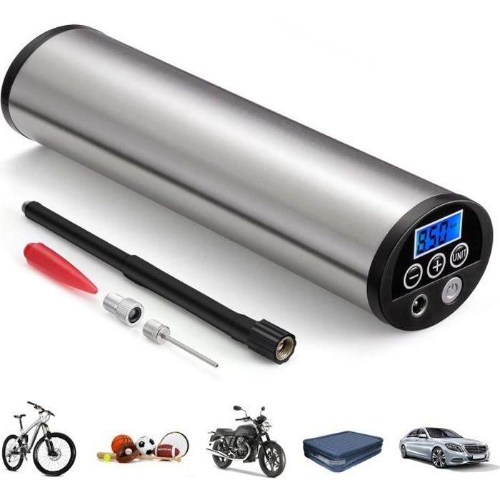 Compresseur d'Air Portable 12V - Mini Gonfleur Electrique Digital écran LCD + Lampe LED - 3 Embouts inclus