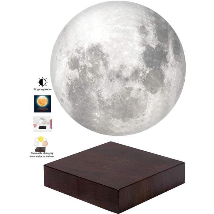 Lampe de lune en lévitation flottant et tournant librement dans l'air avec une base en faux bois de luxe et une impression 3D LED
