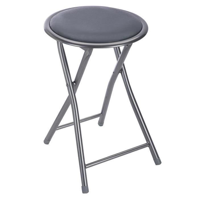 Tabouret pliant assise ronde coloris gris Gris